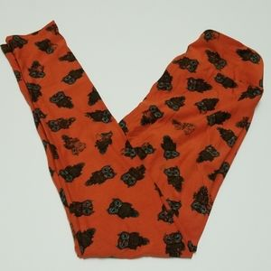 Lularoe Burnt Orange Owl Leggings OS